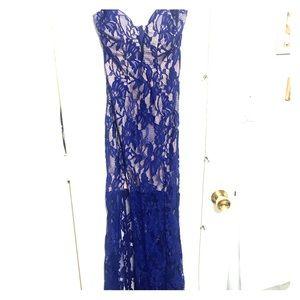 Royal blue lace sweep train dress